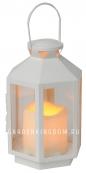 Светильник фонарь  со свечкой на батарейках, 20 см, белый