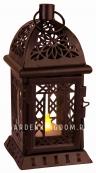 Светильник фонарь ажурный со свечкой на батарейках, 20 см, черный