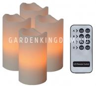 Комплект свечей с пультом, 10 см, 4 шт., бежевый воск